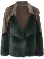 Liska Short Mink Fur Coat Green
