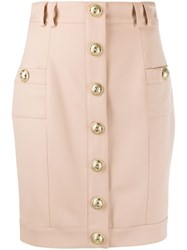 Balmain Embossed Buttons Fitted Skirt 60