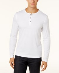 Alfani Men's Soft Touch Stretch Henley Created For Macy's Bright White