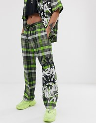 Jaded London Co Ord Trousers In Neon Green Check With Graffiti