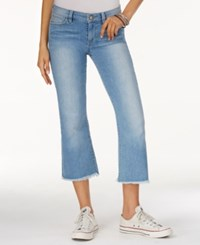 Guess Kick Cropped Medium Blue Wash Flared Jeans Photoshoot 2 Wash