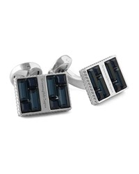 Ermenegildo Zegna Rectangular Cuff Links W Crystal Baguettes Blue