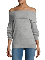 Saks Fifth Avenue Off The Shoulder Cashmere Sweater Grey