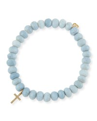 Blue African Opal Faceted Rondelle Bracelet W 14K Yellow Gold Cross Charm Sydney Evan