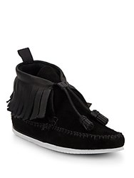 Rag And Bone Ghita Suede And Leather Moccasin Ankle Boots Black