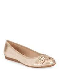 Anne Klein Azi Zebra Embossed Cap Toe Flats Light Natural