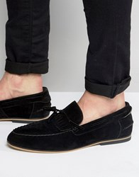 Asos Tassel Loafers In Black Faux Suede With Fringe Black