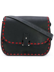 La Contrie Red Stitched Shoulder Bag Women Leather One Size Black