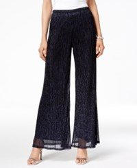 Msk Metallic Knit Palazzo Pants Black Navy