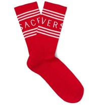Versace Logo Jacquard Ribbed Stretch Cotton Blend Socks Red