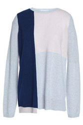 Duffy Color Block Cashmere Sweater Stone