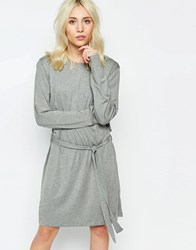 Neon Rose Jersey Dress With Tie Side Grey Marl