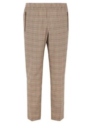 Stella Mccartney Houndstooth Checked Wool Blend Trousers Beige