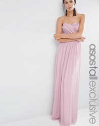 Asos Tall Chiffon Bandeau Maxi Dress New Nude Pink