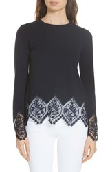 Ted Baker London Aylex Lace Detail Wool Cashmere Blend Sweater Dark Blue