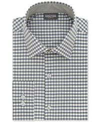 Kenneth Cole Reaction Men's Slim Fit Techni Stretch Performance Gingham Dress Shirt Deep Sea