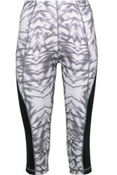 Purity Active Cropped Printed Stretch Leggings Light Gray