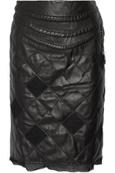 Maison Martin Margiela Chain Trimmed Quilted Leather And Tulle Skirt Black