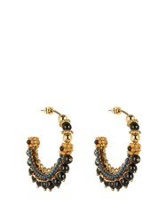 Etro Bead Embellished Hoop Earrings Blue Gold