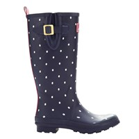 Joules Printed Rubber Wellington Boots Navy Spot