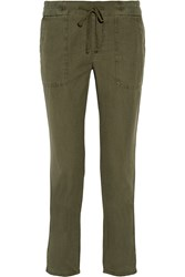James Perse Cotton And Linen Blend Tapered Pants Army Green