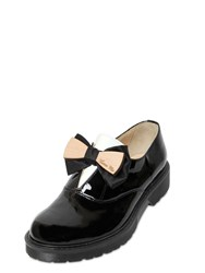 Pokemaoke Love Me Bow Patent Leather Oxford Shoes