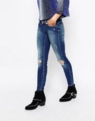 Only Ripped Knee Jeans Dark Blue Denim L