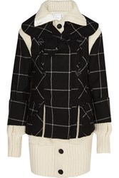Sacai Three Piece Checked And Waffle Knit Wool Coat Black