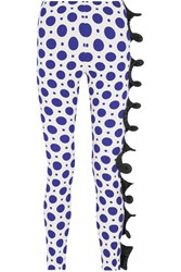 Ungaro Ruffle Trimmed Polka Dot Stretch Twill Skinny Pants Blue