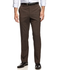 Nautica Flat Front Shadow Plaid Pants Brown