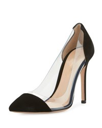 Gianvito Rossi Velvet Cap Toe Illusion Pump Black
