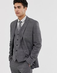 Jack And Jones Premium Slim Double Breasted Wedding Suit Jacket In Check Grey