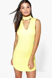 Boohoo Cut Out Front Textured Bodycon Dress Lemon