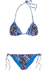 Matthew Williamson Akita Printed Triangle Bikini Bright Blue