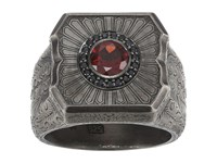 Stephen Webster Large Cigar Leaf Ring Sterling Silver Black Sapphire Garnet Ring Gray