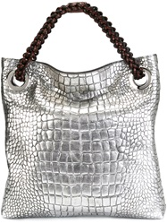 Roberto Cavalli Embossed Crocodile Effect Tote Grey