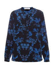 Stella Mccartney Floral Print Mandarin Collar Shirt Black Multi