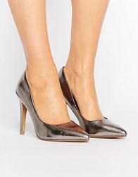 Head Over Heels By Dune Addelyn Metallic Point Court Shoes Pewter Metallic Silver