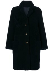 Thom Browne Reversible Sack Overcoat In Dyed Shearling Blue