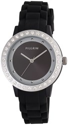 Pilgrim Silver Plated And Black Crystal Watch Black