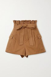Alice Olivia Laurine Belted Cotton Blend Twill Shorts Tan