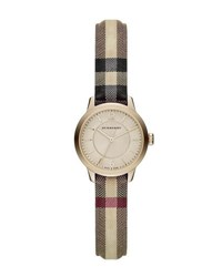 Burberry 26Mm Round Golden Watch W Check Strap Multi