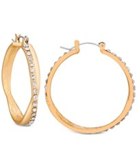 Guess Pave Crossover Hoop Earrings Gold