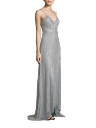 Aidan Mattox Beaded Spaghetti Strap Gown Cloud Blue