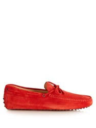 Tod's Gommino Suede Driver Loafers Red