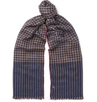 Anderson And Sheppard Checked Cashmere Scarf Navy