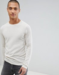 Tom Tailor Long Sleeve Jumper In Lightweight Waffle Beige