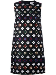 Red Valentino Geometric Embroidery Dress Black