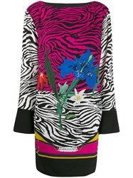 Class Roberto Cavalli Floral Animal Print Dress Pink