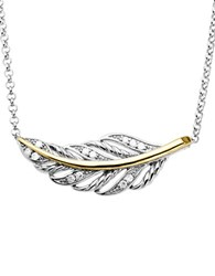Lord And Taylor Diamond Accented Feather Necklace In Sterling Silver With 14K Yellow Gold
